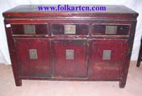 Bedside Cabinet SC-224p4 Chinese Antique 3 Drawer 3 Door Cabinet (Sideboard, Buffet)
