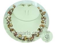 double rows colorful blister pearl and potato pearl necklace