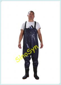 China FQW1904 Safty Chest/ Waist Wader Protective Water Working Outdoor Fishing Wading 0.60MM Blue PVC Pants with Rain Boots on sale