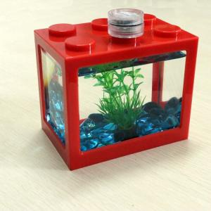 China Hot sales The Lego Mini Aquarium fish tank by red , yellow colors on sale