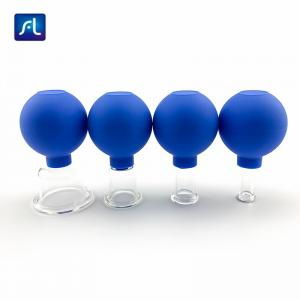 China 4pcs Non Irritation Silicone Glass Massage Cupping Cups Set on sale