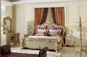 Luxury Classic Bedroom Furniture Bed sets Golden painting ...