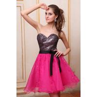 Black Sequins Rose Organza Short Evening Party Dresses with Sash , Strapless Neckline
