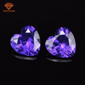 China China wholesale Artificial diamond Heart cut Cubic Zirconia stones in Amethyst color on sale