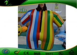 China Inflatable Rainbow Colored Clothes , 1.4m Tall Inflatable Colorful Suit For Party on sale