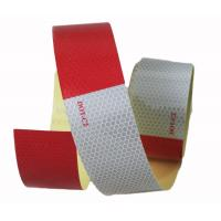 """Honeycomb Red And White Reflective Safety Tape On Trailer 2"""" x 150"""