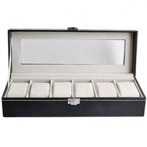 China 6つの生地の枕が付いている長い正方形の革窓の革腕時計のギフト用の箱 on sale