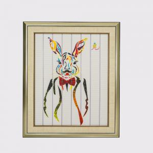 China 67.5 X 57cm Ribbon Painting Twelve Animals Rabbit Paint Polyester Canvas Material on sale