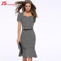 20713 Houndstooth Fishtail Gown Summer Party Fashionable Dress For Fat Women
