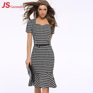 China 20713 Houndstooth Fishtail Gown Summer Party Fashionable Dress For Fat Women on sale