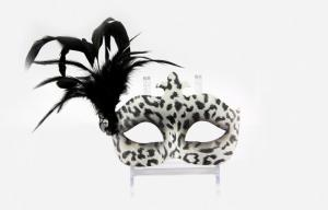 China Leopard Print Masquerade Venetian Masks Decal Feathered Masquerade Mask on sale