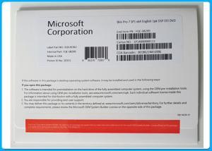 China Microsoft Windows 7 Professional Pro SP1 64 Bit Hologram DVD COA License on sale