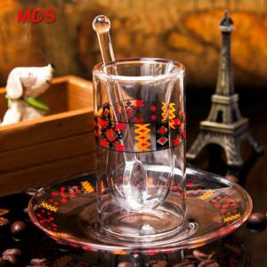 Quality Borosilicate cylinder double wall turkish glass tea cup with plate and spoon for sale
