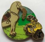 Zinc Alloy Silver Plating Hose& Robot pin on pin badge with Green Glitter