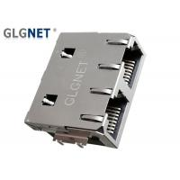 Two Ports Rj45 Double Connector 1 Row Through Hole / Offset / PIP Mount Type