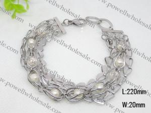 China Stainless Steel Pearlized Charm Cuff Bracelets 1430026 on sale