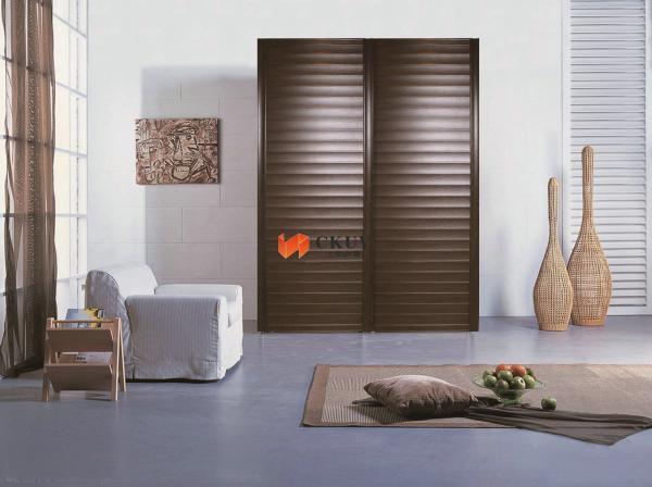 Brown Wooden Plastic Steel Composite Sliding Louvered Patio Doors