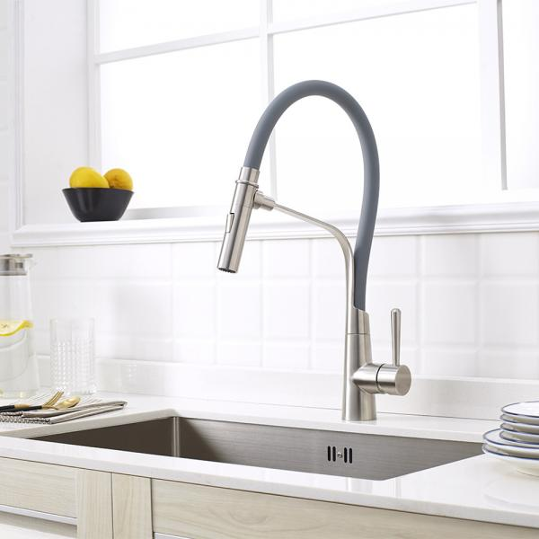 Unique Brushed Nickel SUS Kitchen Sink Faucet Pull Out Sprayer Only Cold Tap New