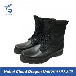 China Outdoor Leather Security Officer Boots / Black Shoes For Security Guards on sale