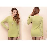 Solid Color Fine Knit Ladies Crew Neck Sweaters , Long Cashmere Sweater for Women