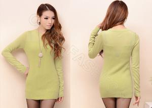 China Elegant Turtle Neck Long Womens Sweaters , Lemon Ladies Autumn Sweater on sale
