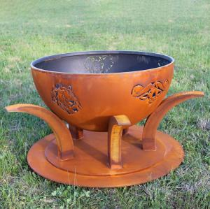 China 58 100cm Metal Outdoor Garden Rust Corten Fire Pits And Water Bowl on sale