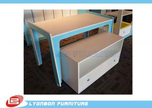 China Modern Blue MDF Retail Display Tables / Melamine Finished Shop Display Tables on sale