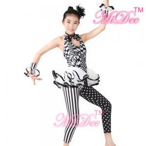 0d2bb3335e4e ... Quality Sleeveless Hip Hop Dance Costumes Halter Black / White Print  Dance Unitard for sale ...