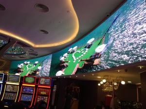 Quality Audio Visual P3 Curved LED Video Wall , Front Service Big LED Screen for Casino for sale