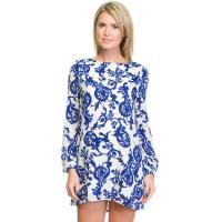 Lovely Shift Style Short Printed Ladies Fashion Dresses With Long Sleeve