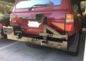 China Rolled Steel 4x4 Rear Bumper With Spare Tire Holder For 92 - 97 Land Cruiser FJ80 Series LC80 LX450 on sale