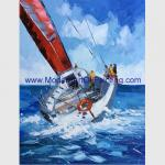 Palette Knife Ship Paintings On Canvas Abstract Boats For Companies Clubs