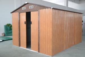 China 10' x 8' Zinc Steel Mobile Apex Metal Garden Shed With Gable Roof , Wood Color / Green on sale