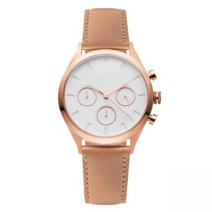 China High End Ladies Chronograph Watches , Ladies Rose Gold Watch With Leather Strap on sale