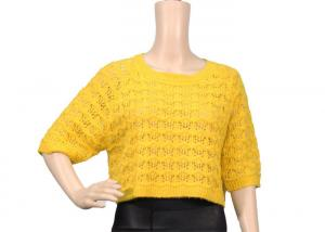 China Loose Short Sleeve Round Neck Yellow Womens Knit Sweater For Spring And Autumn on sale