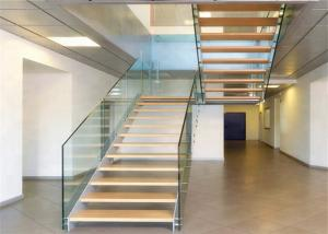 China Residential steel straight staircase with stainless steel handrail design on sale