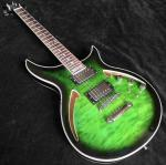 Grand guitar Hollow body AAA Quilted maple top Green waves electric guitar free shipping
