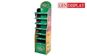 China Green Store Retail Cardboard Display Stand Shelves With UV Coating on sale