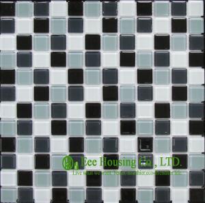 China teja de mosaico cristalina del vidrio de 300mm*300m m para la pared de la cocina/del cuarto de baño, color oscuro mezclado on sale