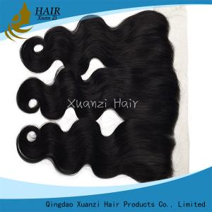 China Peruvian Weave Closure Piece Nature Black , Deep Wave Silk Lace Front Closure on sale