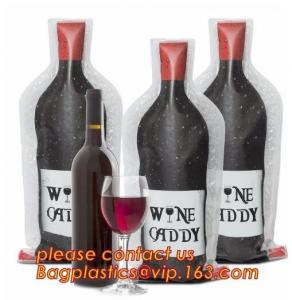 China Zip sealed liquor bubble bags bottle protector Travelling liquor bubble sleeves air wine bubble bags Zipped bottom plast on sale