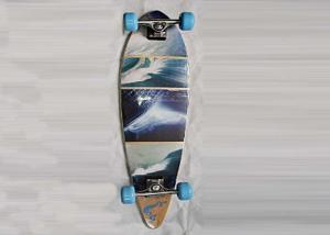 China Double Kick Longboard Canadian Maple Skateboards Deck With Heat Transfer Design on sale