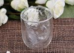 Clear Double Wall Borosilicate Glass Juice Cups Mouth Blown Thermo