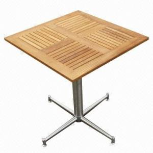China Square cafe table with #304 stainless steel, teak garden outdoor furniture on sale