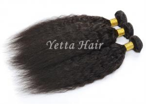 China Real Tangle Free Kinky Straight Peruvian Hair Weave For Black Women on sale
