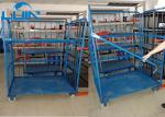 Three Side Powder Coated Warehouse Storage Racks Folding Pallet Logistic Trolley