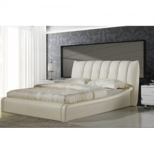 China Tufted White Faux Leather Queen-size Platform Bed w/headboard footboard NEW on sale