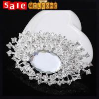 Large Crystal Oval Brooch for Wedding Lady Scarf Pins, Rhinestone Flower Large Oval Brooch