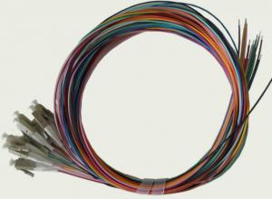 China 12colors 900um SC LC Fiber Optic Pigtail Cables , SM / MM / OM3 Optical Patch Cord  on sale