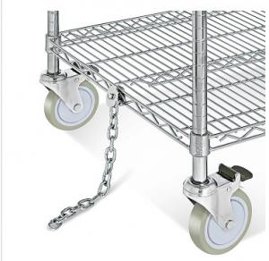 China Electrostatic Discharge Chrome Wire Shelving Trolley 3 Tier For Electronics Industry supplier